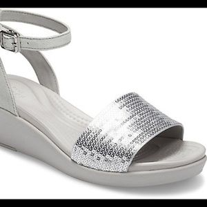 Crocs LeighAnn Ankle-Strap Sequin Wedge, Size 8